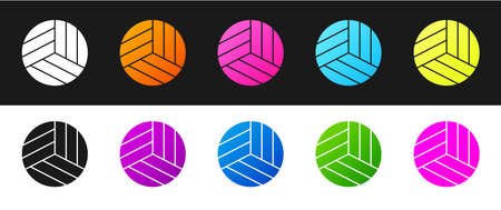 Set Volleyball ball icon isolated on black and white background. Sport equipment. Vector Illustration