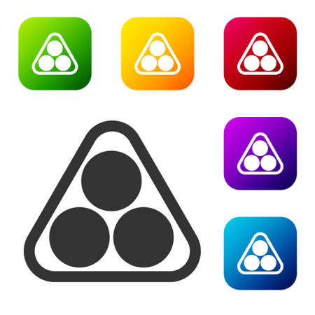 Black Billiard balls in a rack triangle icon isolated on white background. Set icons in color square buttons. Vector Illustration