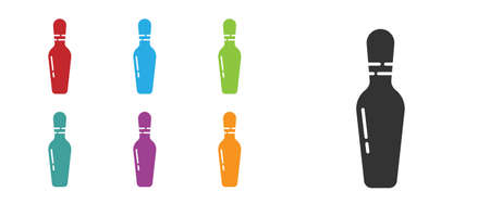 Black Bowling pin icon isolated on white background. Set icons colorful. Vector Illustration
