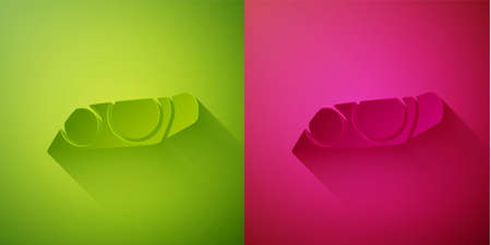 Paper cut Car headlight icon isolated on green and pink background. Paper art style. Vector Illustration Stock Illustratie