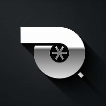 Silver Automotive turbocharger icon isolated on black background. Vehicle performance turbo. Turbo compressor induction. Long shadow style. Vector Illustration Vettoriali