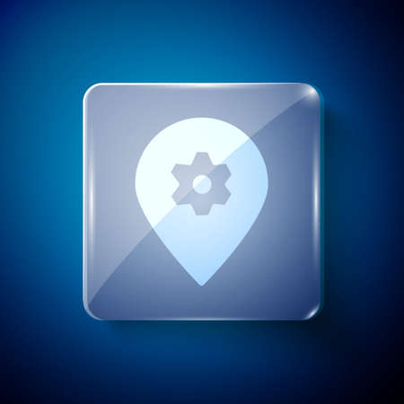 White Location with car service icon isolated on blue background. Auto mechanic service. Repair service auto mechanic. Square glass panels. Vector Illustration