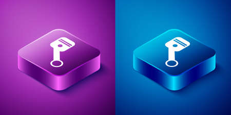 Isometric Engine piston icon isolated on blue and purple background. Car engine piston sign. Square button. Vector Illustration Illusztráció