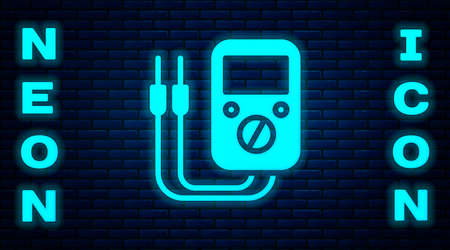 Glowing neon Ampere meter, multimeter, voltmeter icon isolated on brick wall background. Instruments for measurement of electric current. Vector Illustration Ilustracja