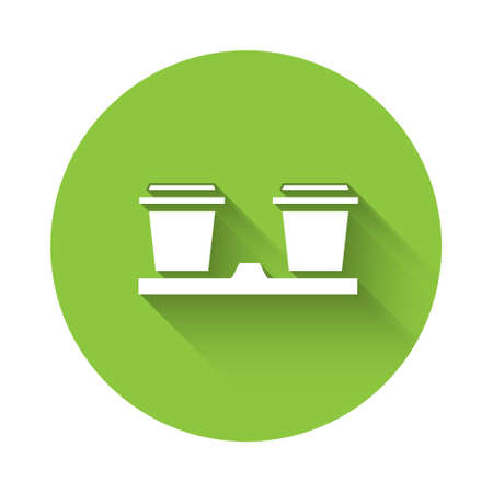 White Coffee cup to go icon isolated with long shadow. Green circle button. Vector Illustration