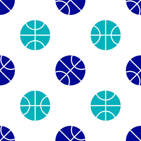 Blue Basketball ball icon isolated seamless pattern on white background. Sport symbol. Vector Illustration