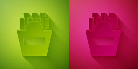 Paper cut Potatoes french fries in carton package box icon isolated on green and pink background. Fast food menu. Paper art style. Vector Illustration Ilustração