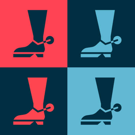 Pop art Cowboy boot icon isolated on color background. Vector Illustration