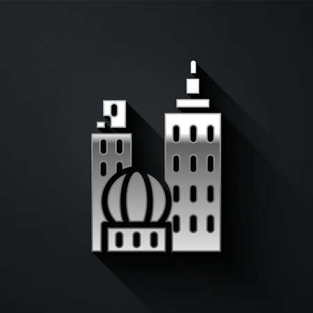 Silver City landscape icon isolated on black background. Metropolis architecture panoramic landscape. Long shadow style. Vector Illustration Illustration