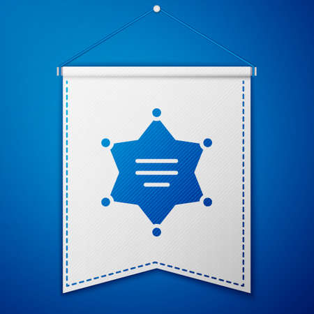 Blue Hexagram sheriff icon isolated on blue background. Police badge icon. White pennant template. Vector Illustration Illusztráció