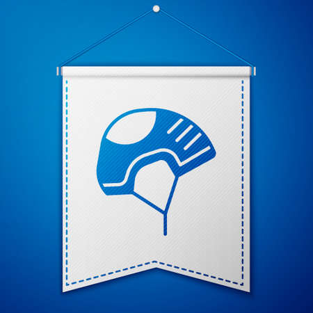 Blue Helmet icon isolated on blue background. Extreme sport. Sport equipment. White pennant template. Vector Illustration