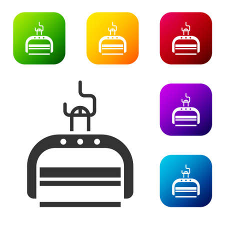 Black Ski lift icon isolated on white background. Set icons in color square buttons. Vector Illustration