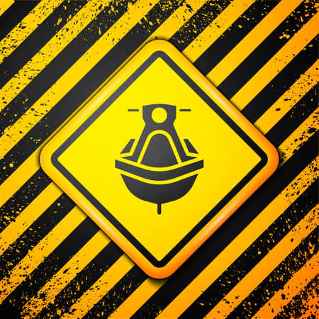 Black Jet ski icon isolated on yellow background. Water scooter. Extreme sport. Warning sign. Vector Illustration