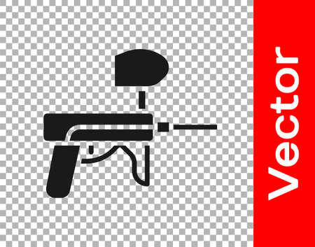 Black Paintball gun icon isolated on transparent background. Vector Illustration