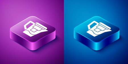 Isometric Water jug with a filter icon isolated on blue and purple background. Square button. Vector Illustration