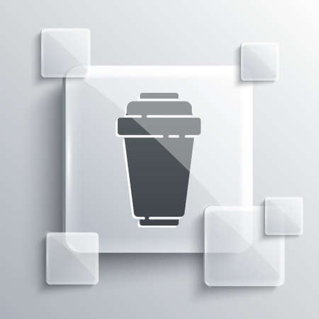 Grey Water filter cartridge icon isolated on grey background. Square glass panels. Vector Illustration