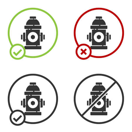 Black Fire hydrant icon isolated on white background. Circle button. Vector Illustration