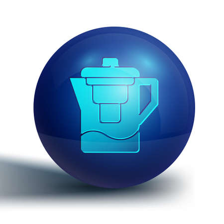 Blue Water jug with a filter icon isolated on white background. Blue circle button. Vector Illustration