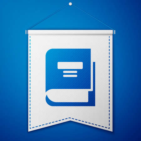 Blue Book icon isolated on blue background. White pennant template. Vector Illustration
