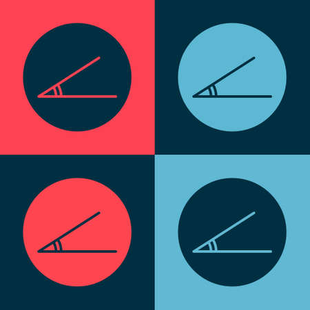Pop art Acute angle of 45 degrees icon isolated on color background. Vector Illustration