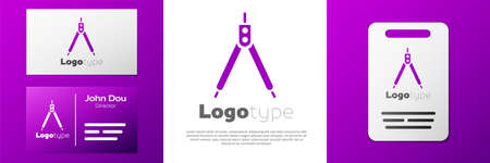 Logotype Drawing compass icon isolated on white background. Compasses sign. Drawing and educational tools. Geometric instrument.