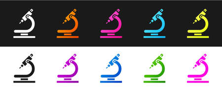 Set Microscope icon isolated on black and white background. Chemistry, pharmaceutical instrument, microbiology magnifying tool. Vector Illustration Ilustrace