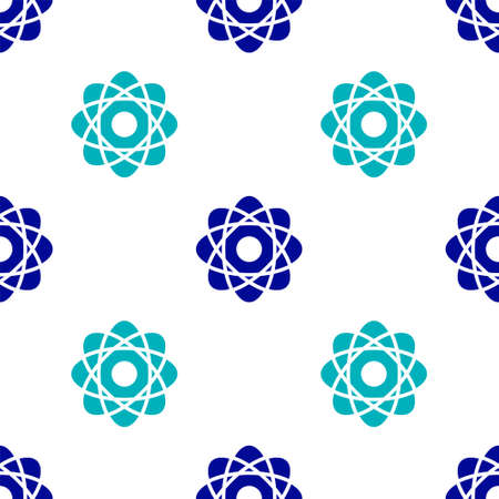 Blue Atom icon isolated seamless pattern on white background. Symbol of science, education, nuclear physics, scientific research. Vector Illustration Illusztráció