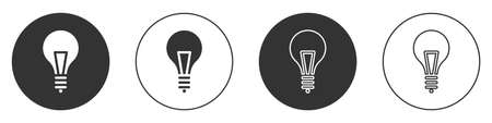 Black Light bulb with concept of idea icon isolated on white background. Energy and idea symbol. Inspiration concept. Circle button. Vector Illustration Stock Illustratie