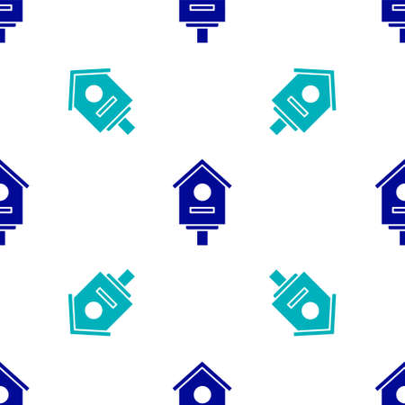 Blue Bird house icon isolated seamless pattern on white background. Nesting box birdhouse, homemade building for birds. Vector Illustration