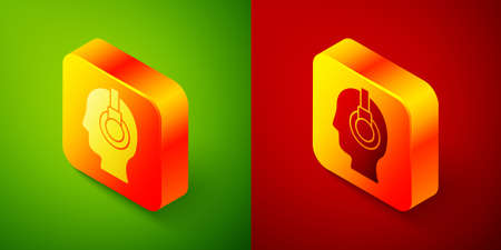 Isometric Man with a headset icon isolated on green and red background. Support operator in touch. Concept for call center, client support service. Square button. Vector Illustration