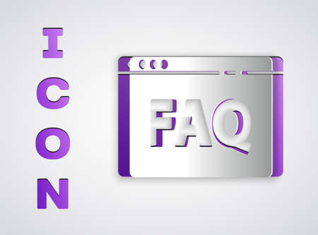 Paper cut Browser FAQ icon isolated on grey background. Internet communication protocol. Paper art style. Vector Illustration
