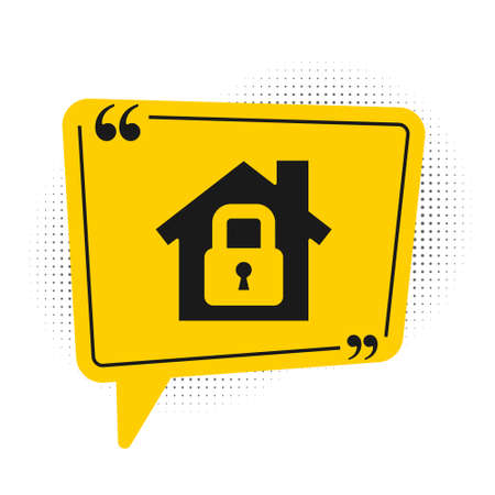 Black House under protection icon isolated on white background. Home and lock. Protection, safety, security, protect, defense concept. Yellow speech bubble symbol. Vector Illustration Illustration