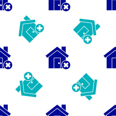 Blue House with wrong mark icon isolated seamless pattern on white background. Home and close, delete, remove symbol. Vector Illustration Illustration
