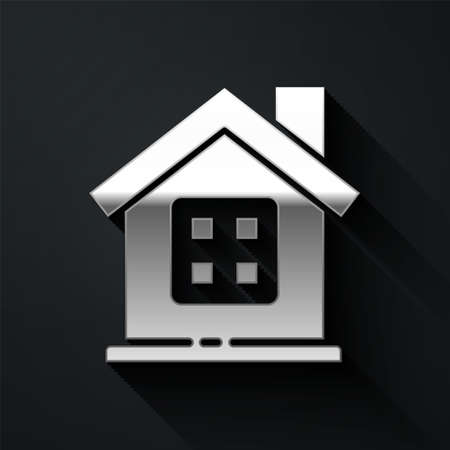 Silver House icon isolated on black background. Home symbol. Long shadow style. Vector Illustration