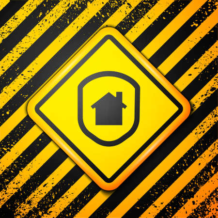 Black House under protection icon isolated on yellow background. Home and shield. Protection, safety, security, protect, defense concept. Warning sign. Vector Illustration