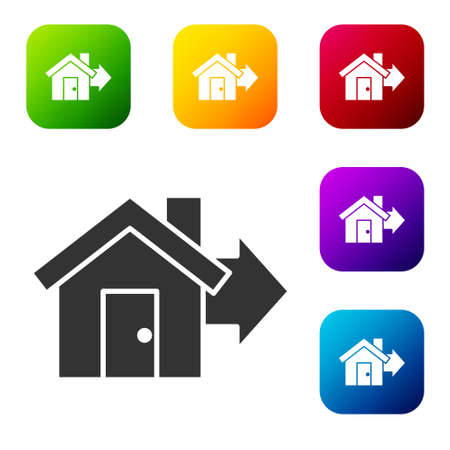 Black Sale house icon isolated on white background. Buy house concept. Home loan concept, rent, buying a property. Set icons in color square buttons. Vector Illustration