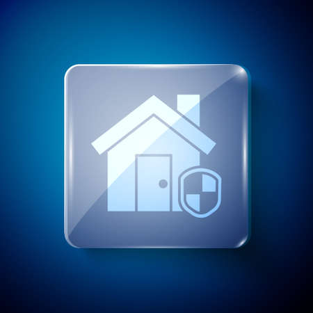 White House under protection icon isolated on blue background. Home and shield. Protection, safety, security, protect, defense concept. Square glass panels. Vector Illustration