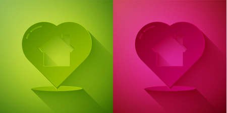Paper cut House with heart shape icon isolated on green and pink background. Love home symbol. Family, real estate and realty. Paper art style. Vector Illustration