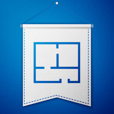 Blue House plan icon isolated on blue background. White pennant template. Vector Illustration Illustration