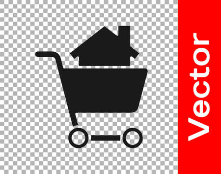 Black Shopping cart with house icon isolated on transparent background. Buy house concept. Home loan concept, rent, buying a property. Vector Illustration