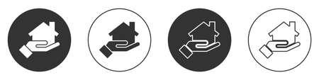 Black Realtor icon isolated on white background. Buying house. Circle button. Vector Illustration Illustration