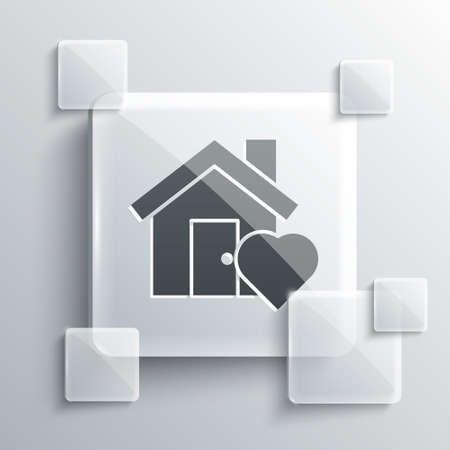 Grey House with heart shape icon isolated on grey background. Love home symbol. Family, real estate and realty. Square glass panels. Vector Illustration Illustration