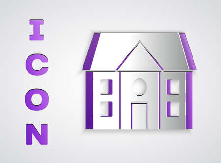 Paper cut House icon isolated on grey background. Home symbol. Paper art style. Vector Illustration Illustration