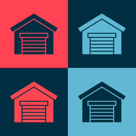 Pop art Garage icon isolated on color background. Vector Illustration Illusztráció