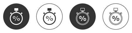 Black Stopwatch and percent icon isolated on white background. Time timer sign. Circle button. Vector Illustration