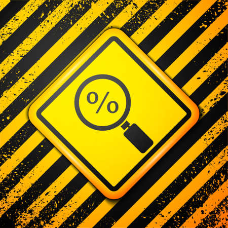 Black Magnifying glass with percent icon isolated on yellow background. Discount offers searching. Search for discount sale sign. Warning sign. Vector Illustration