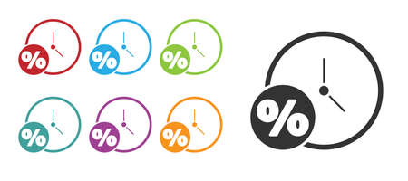 Black Clock and percent icon isolated on white background. Set icons colorful. Vector Illustration Stock Illustratie