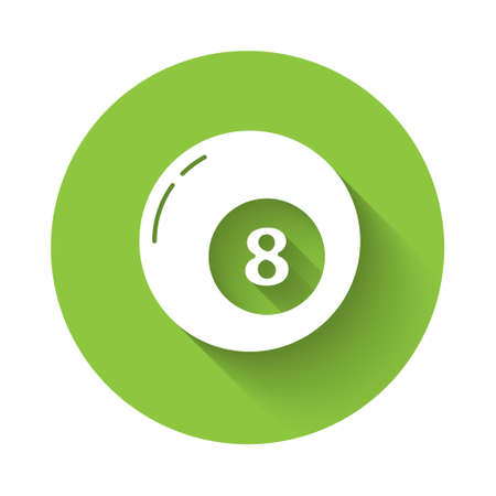 White Billiard pool snooker ball icon isolated with long shadow. Green circle button. Vector Illustration
