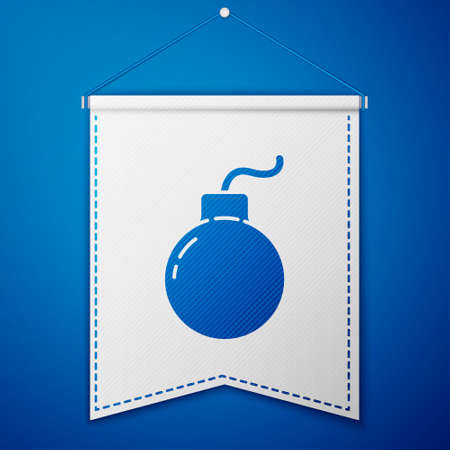 Blue Bomb ready to explode icon isolated on blue background. White pennant template. Vector Illustration