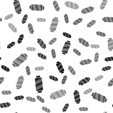 Black Sewing thread on spool icon isolated seamless pattern on white background. Yarn spool. Thread bobbin. Vector Illustration Vector Illustratie